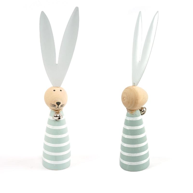 Coelho da páscoa decoração 1 pc madeira azul easter coelho ornamentos artesanato em madeira decoração de casa coelhinho da páscoa com orelhas de metal
