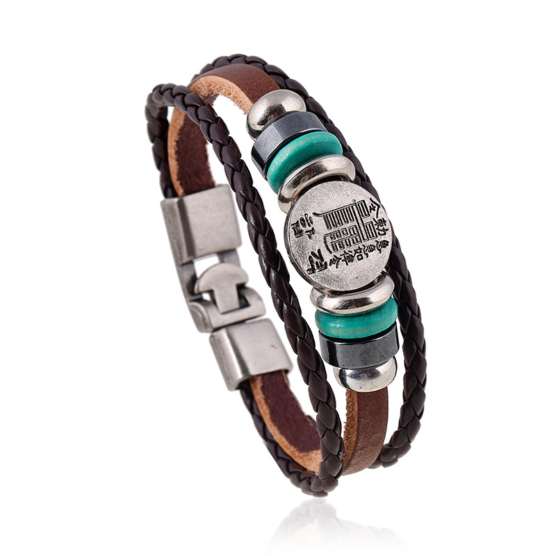 ER Sporty Hand Accessories for Women Charm Black Brown Genuine Leather Punk Bracelet Buckle Braslet Man Unisex Jewelry LB228