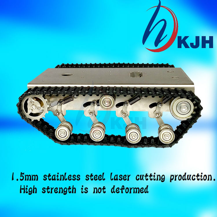 Stainless Steel Tank Car Chassis with Shock Absorber Alloy Tracked Vehicle Track Crawler Caterpillar Experiment Platform Servo vik max adult kids dark blue leather figure skate shoes with aluminium alloy frame and stainless steel ice blade