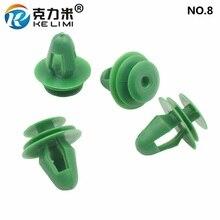 KE LI MI NO.8 Door Panel Garnish Retainers Universal 9mm Trim Clips Fastener Green Car Interior Accessories