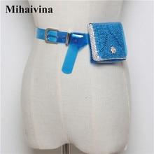Mihaivina Fashion Beach Fanny Pack Rhinestone Waist Bag Women Mini Purse Transparent Jelly Waterproof Belt Bag Handbag heuptas