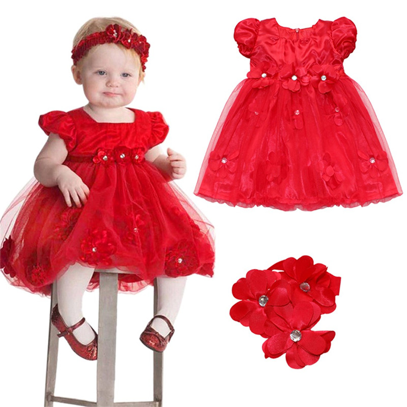 79ff627d75534 US $8.87 25% OFF|Toddler Baby Girl Dress Christmas Red Petals Dress  Costumes Princess Dresses 1 Year Birthday Gift Kids Party Wear Dresses-in  Dresses ...