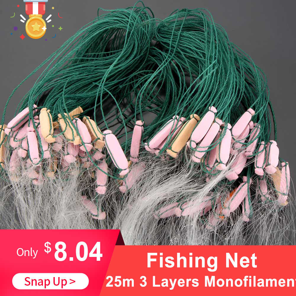 Fishing Net 25m 3 Layers Monofilament Fishing Fish Gill Net with Float