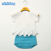 Newborn Baby Girl Clothing Boutique Fashion Knit Short Sleeve Tee Tops Buttoms Infant Outfits Sets White