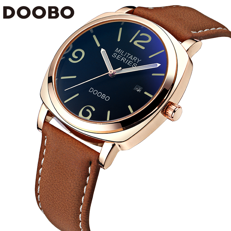 Mens Watches Top Brand Luxury Leather Strap Sports Army Military Quartz Watch Men Wrist Watch Clock relogio masculino DOOBO