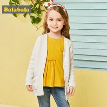 Balabala แฟชั่นเสื้อกันหนาวสำหรับฤดูใบไม้ร่วง cardigans สำหรับเด็กวัยหัดเดินเด็ก Plush กระเป๋านุ่มหวานเสื้อสำหรับหญิง Cardigan เครื่องแต่งกาย
