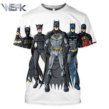WSFK Batman personality sweatshirt short-sleeved T-shirt anime 3D printing mens casual loose sports short sleeve