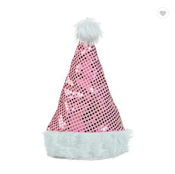 Plush Led Lights Santa Hat, Blue Knitted Christmas Hats For 2017 Christmas Decoration For Kids And Adults