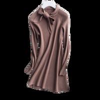 Новые поступления чистый козел кашемировые женские модные длинное платье пуловер свитер бабочка воротник S 2XL