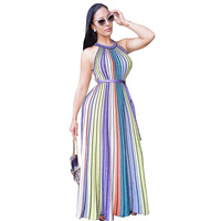 eff993e830f8 2017 Fashion Stripe Colorful Women Summer Dresses With Belt Nice Details O  Neck High Waist Sleeveless