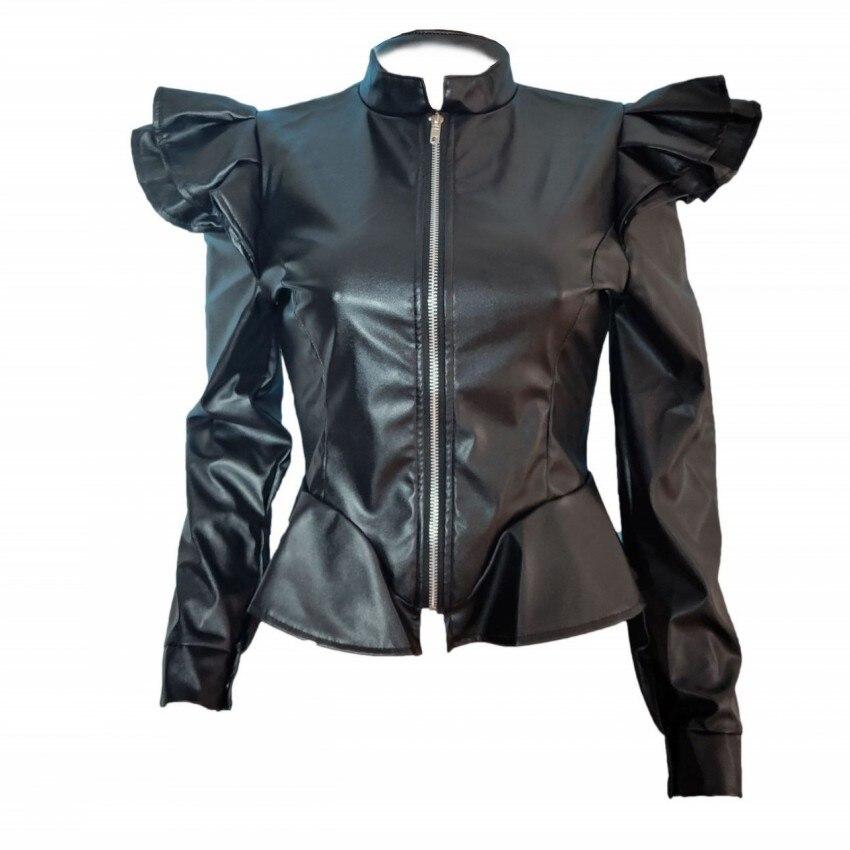 2019 Pu   Leather   Jacket Women Fashion Bright Colors Black Motorcycle Coat Short Faux   Leather   Biker Jacket Soft Jacket Female