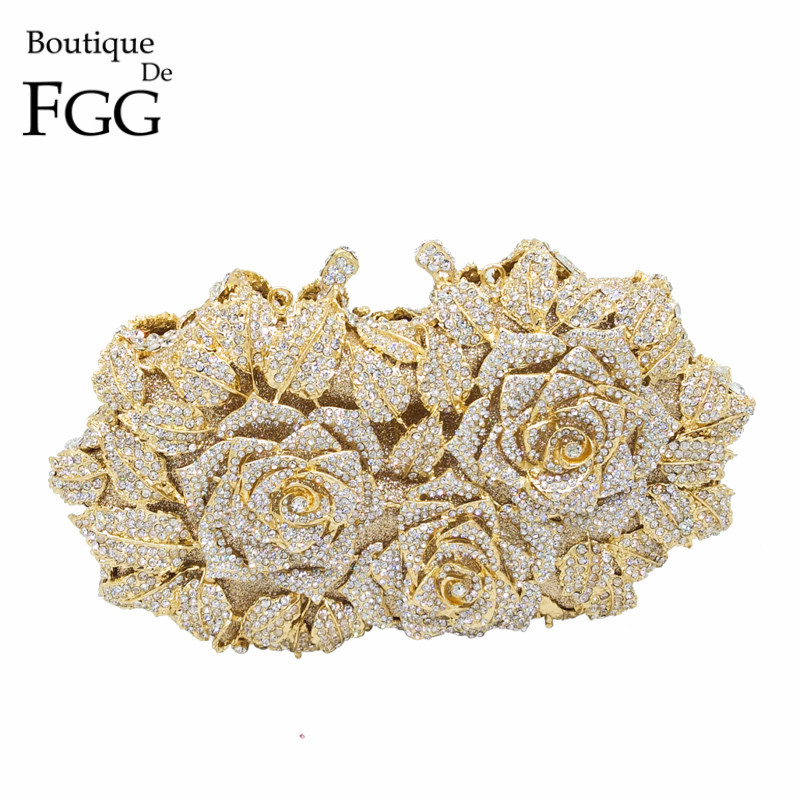 Wanita yang mempesona Emas Rose Bunga Hollow Daripada Crystal Evening Metal Clutches Kecil Minaudiere Handbag Purse Wedding Box Clutch Bag