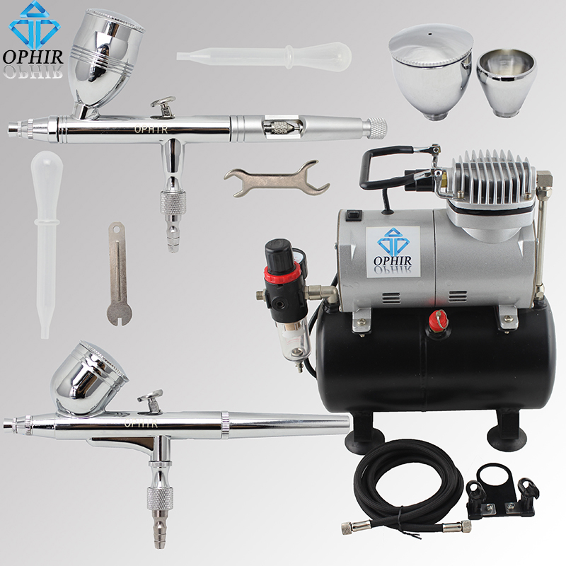OPHIR 2 Air Brush Guns with PRO Tank Air Compressor 110V 220V Airbrush Set for Model Hobby Car/Cake/Toys Paint _AC090+004A+006 paul mitchell жидкий лак сильной фиксации для волос freeze and shine super spray 100 мл