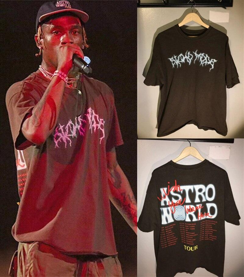 2019 TRAVIS SCOTT ASTROWORLD Festival Pop Up T Shirt Men Women 1:1 Best Quality Travis Scott ASTROWORLD T-shirt