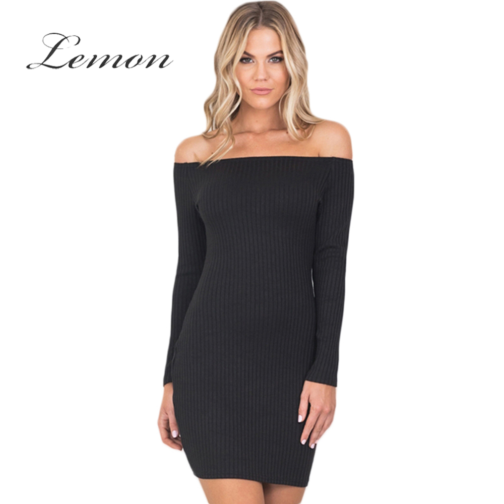 Lemon 2018 Sexy Off Shoulder Bodycon Dress Women Clothing Elegant Knitted Mini Vestido Skinny Brief Female Summer Dress