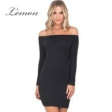 Лимон 2018 Сексуальная с плеча bodycon платье женская одежда элегантный вязаный мини Vestido тощие Краткие женские летнее платье