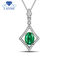 Fantastic Oval 6x8mm Solid 14Kt White Gold Nautral Emerald Diamond Wedding Pendant