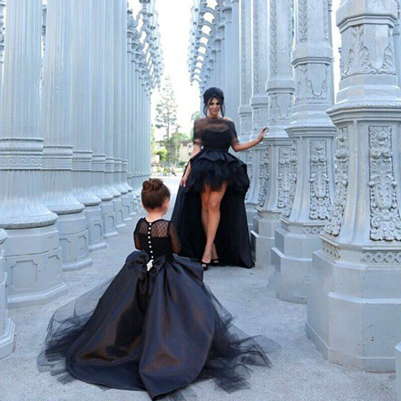 Luxury Custom Bridal A Line Wedding Gown Long Sleeves Gown Mother Daughter Matching Clothes Family Look Girl and Mom Clothing - 5