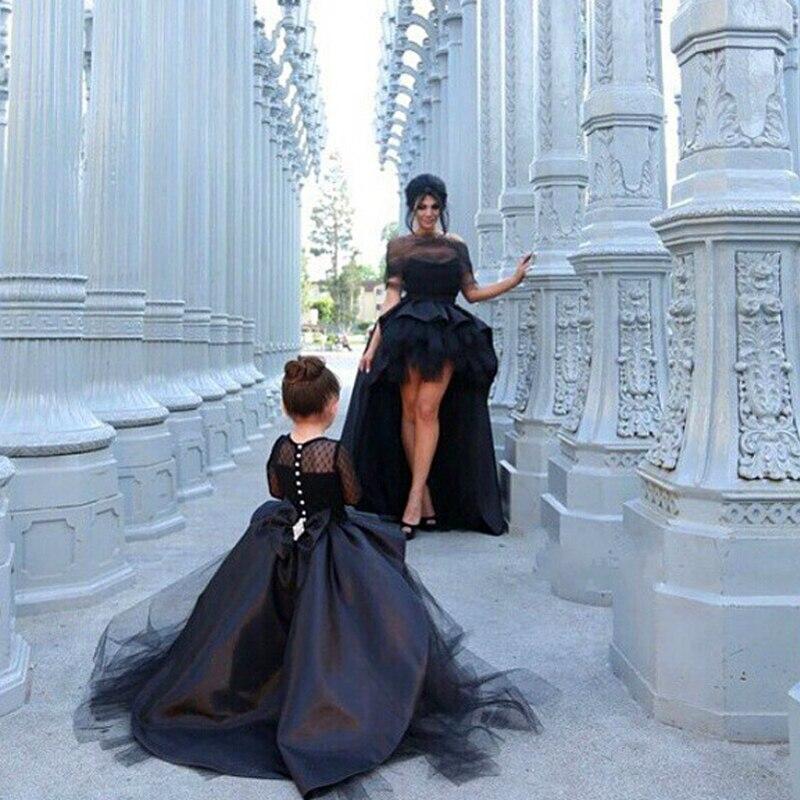 Luxus Benutzerdefinierte Eine Linie Brautkleid Lange Ärmel Kleid Mutter Tochter Passenden Kleidung Familie Aussehen Mädchen und Mama Kleidung - 5