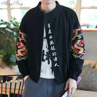 Traditional Chinese Clothing for men tang suit costume Embroidered dragon bomber jacket mandarin collar cheongsam Q563
