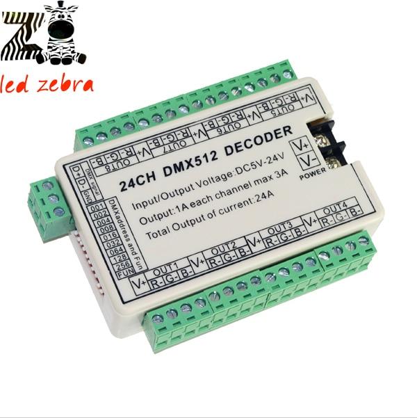 24CH DMX512 decoder led controller,DMX512 led dimmer for rgb led strip dc5-24v
