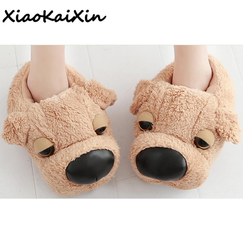 Big Size Winter Warm Couple House Shoes Men/Women Soft Yellow Plush Indoor Floor Home Slip Slippers Furry Cartoon 3D Dog Slipper цена 2017
