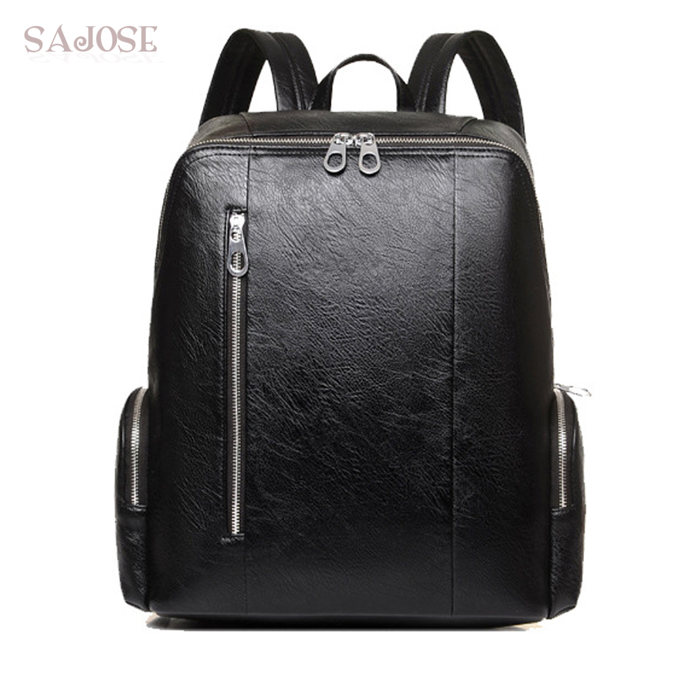 Large Capacity Brown Leather Men Backpack Promotion Solid Mens Laptop Backpack Pu Leather Travel Mochila Drop Shipping Luggage & Bags