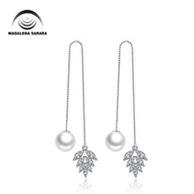 MADALENA SARARA AAAA Cubic Zirconia Inlaid 925 Sterling Silver and 8-9mm AAA Freshwater Pearl Dangle Earrings Natural White стоимость