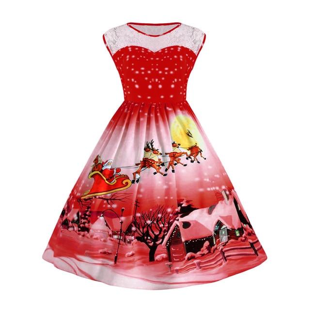 47d5e87992 Kenancy Plus Size Lace Panel Christmas Snow Vintage Ball Dress Round Neck Sleeveless  Party Vestidos 3XL