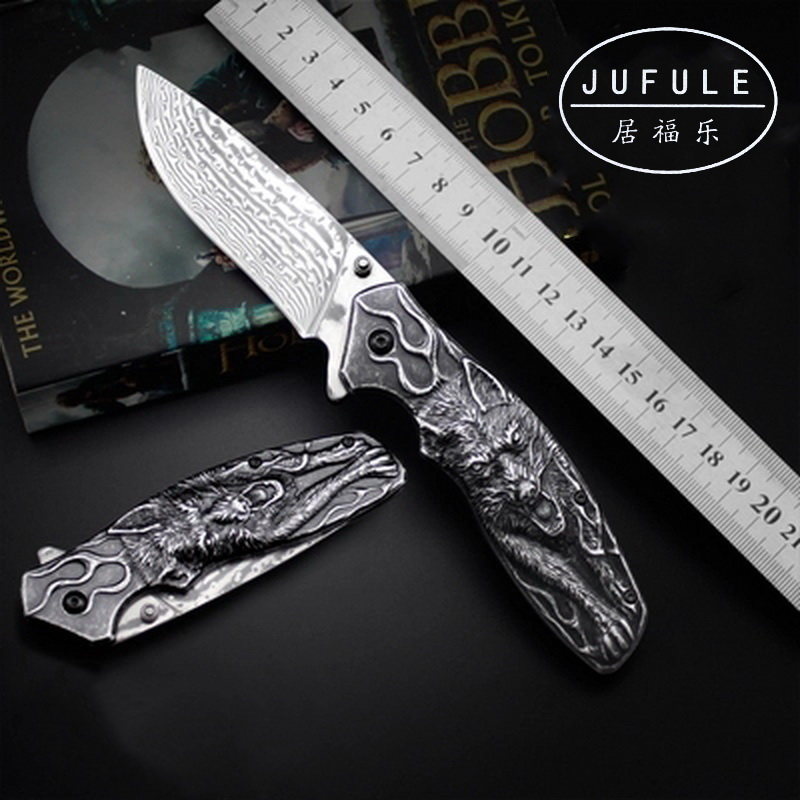 JUFULE Original design Vargr Real Damascus steel folding camp hunt pocket Survival EDC tool outdoor Teflon washers kitchen knife outlife new style professional military tactical multifunction shovel outdoor camping survival folding spade tool equipment