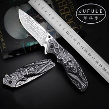 JUFULE Original design Vargr Real Damascus steel folding camp hunt pocket Survival EDC tool outdoor Teflon washers kitchen knife