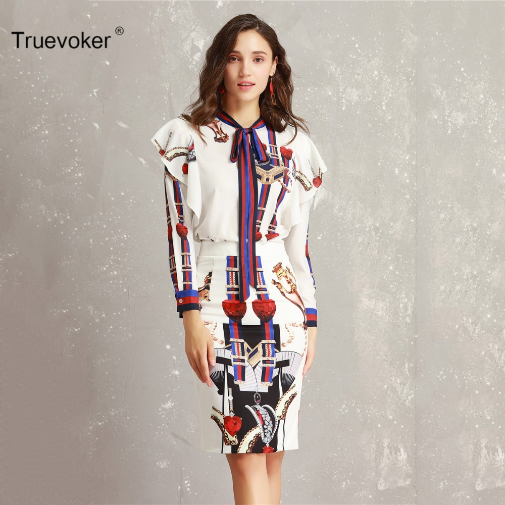 Truevoker Spring Designer Set Suit Women s Long Sleeve Colorful Striped  Printed Ruffle Top Blouse + Pencil bf8c6a4a5e7f