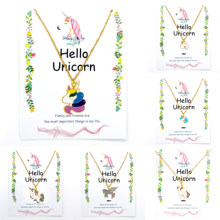 25 Style Necklace for Girls Unicorn Card Pendant Wihoo Horse Women Pendant Children Gold Fashion Jewelry Gift Kids Enamel Pop(China)