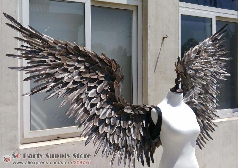 Costumized Amazing Gray Devil feather wings for Cosplay