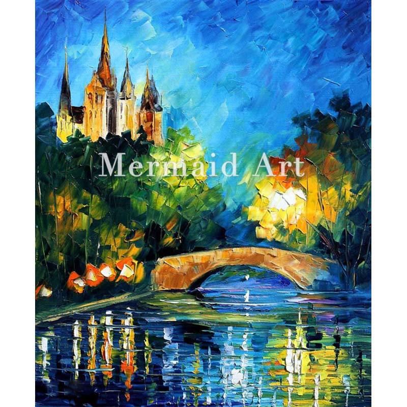 Hand Painted Landscape High Quality Abstract Palette font b Knife b font Bridge Over Time Oil