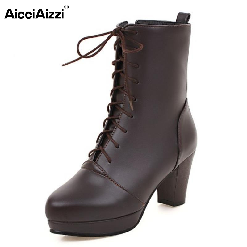 Women Vintage Thick Heel Ankle Boots Female Pointed Toe Martin Shoes Fashion Lace Up Heels Woman Shoes Footwear Size 33-43 big size 34 43 vintage thick high heels platform ankle boots female fashion shoes woman buckle charm lace up fall winter boots