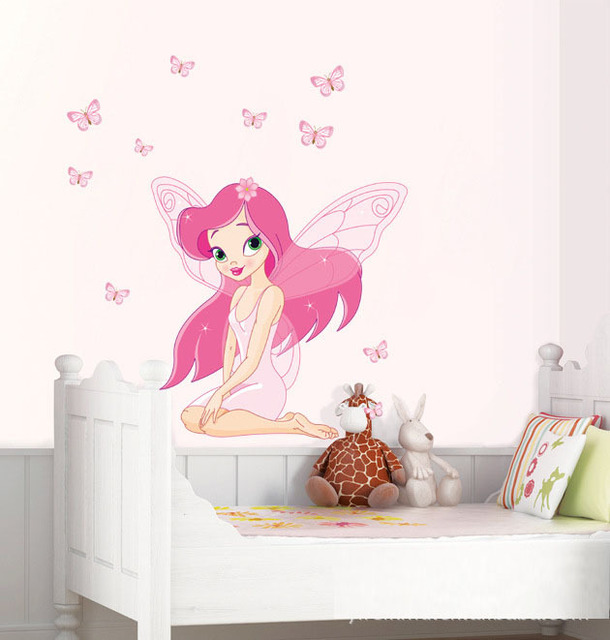 Girls Room Decoration Cartoon Pink Flower Fairy Wall StickersRemovable Vinyl Child Bedside Decal