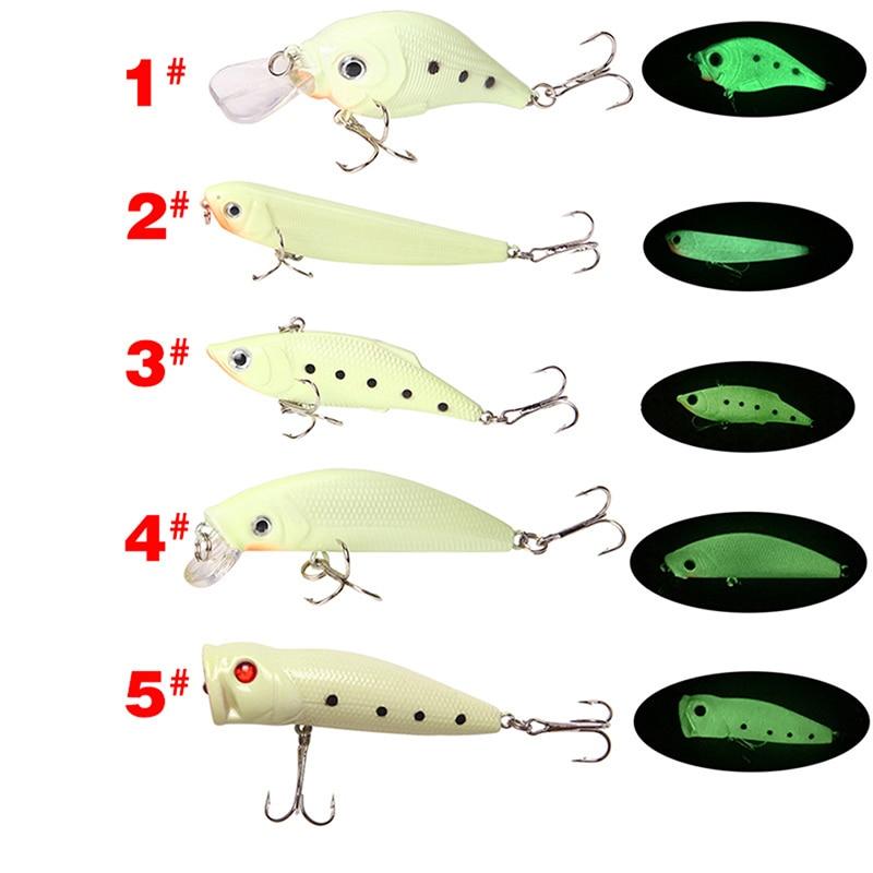 New Night Luminous Fishing Lure Hooks Bait Spinner Metal Tackle Tool CrankbaitEL