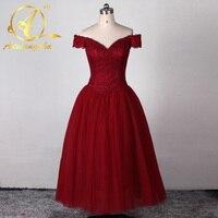 Burgundy Off the Shoulder Ball Gown VIntage Prom Dresses Tea Length Burgundy Evening Dresses