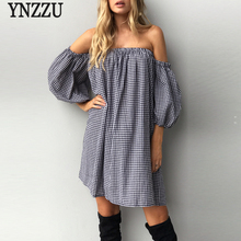 Women Summer Dress 2017 Casual Plaid Lantern Sleeve Loose Short Dress Sexy Strapless Off Shoulder Party Dresess Vestido AD172(China)