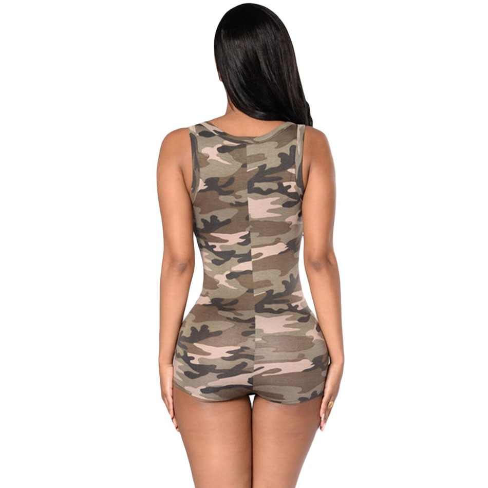 2016 Hot Camouflage print Women bodysuit Sexy V Neck Bodycon jumpsuit button Summer Rompers overalls combinaison femme short (3)