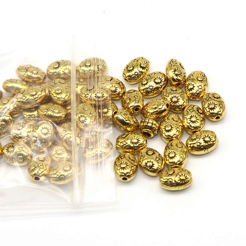 10Mm 50 Stks/partij Metalen Zinklegering Kralen Patroon Antieke Sliver Plated Ovale Vorm Loose Bead Spacer Kralen Voor Diy sieraden Maken