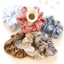 Forme a mujeres la tela llana Hairbands el color sólido brillante Scrunchies vendas elásticos sostenedor simple del pelo Headwear