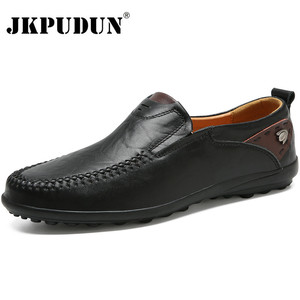 Image 1 - Men Shoes Casual Luxury Brand 2019 Genuine Leather Italian Men Loafers Moccasins Slip on Mens Boat Shoes Black Plus Size 37 47