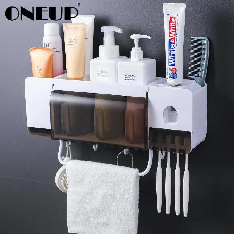 ONEUP uchwyt na szczoteczki do zębów pasta do zębów dozownik do wyciskania zestawy akcesoriów łazienkowych 5 sztuk łazienka pudełko do przechowywania przypadku artykuły gospodarstwa domowego