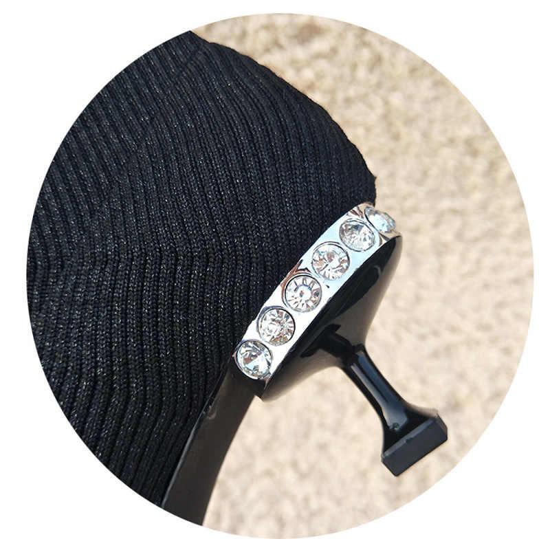 ... HZXINLIVE Luxury Rhinestone Kitten Heel Women Sock Boots Wool Knitting Ankle  Booties 2018 Crystal Ankle Boots ... e09a90ecdf04