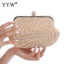 YYW Clutch With White Rhinestones Elegant Purse Clutches Evening Handbags Clutch Female Evening Bolsa Feminina Wedding Bags 2019 цены