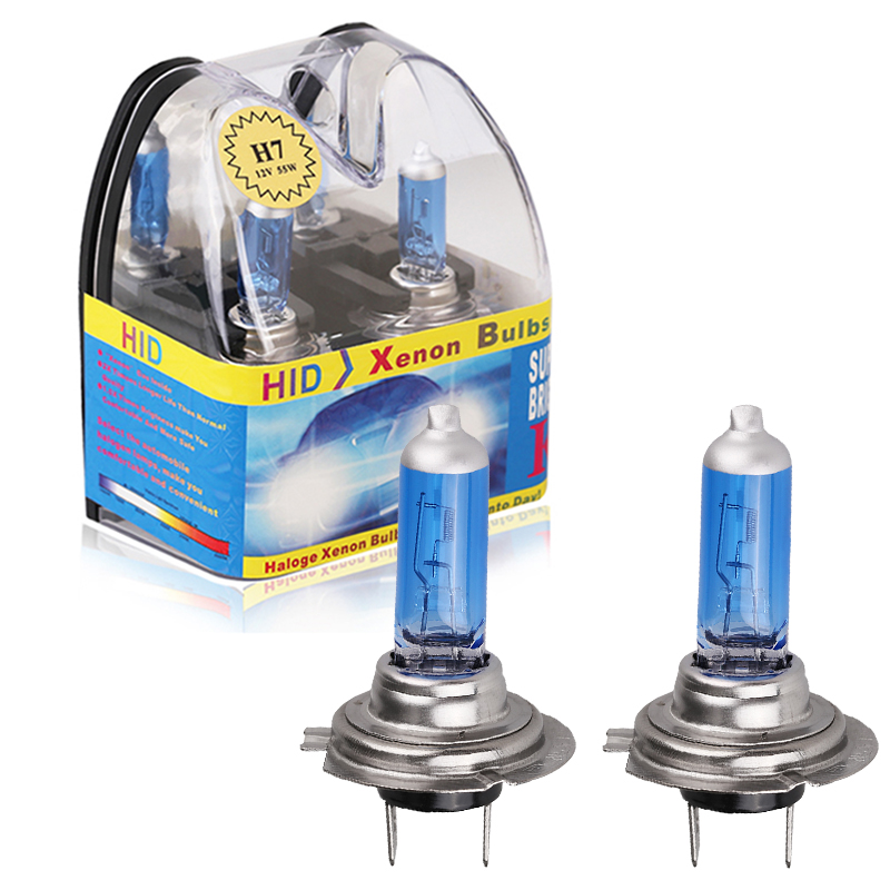 2pcs 12 V <font><b>H7</b></font> 55W High Power <font><b>H7</b></font> <font><b>Halogen</b></font> Bulb <font><b>6000k</b></font> Super Bright White Car Headlight Lamp Fog Lights Car Light Source Car Styling image