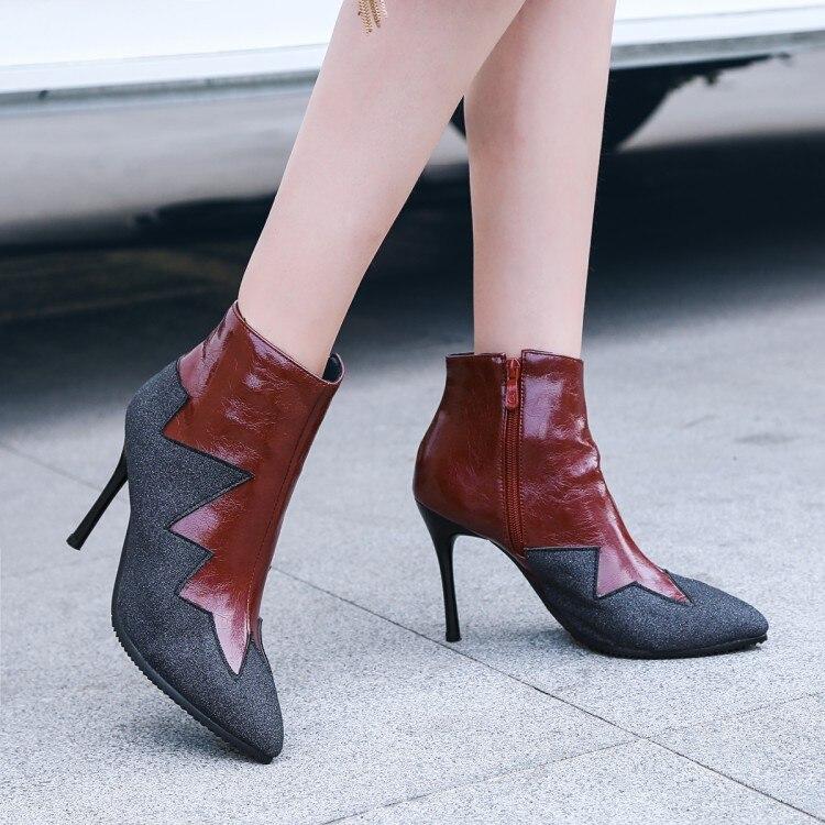 Botas Tacón Mujer Tacones Tamaño Zapatos Tobillo 43 Barato Alto Delgados 35 Negro De Marrón Black brown w5wqTIr