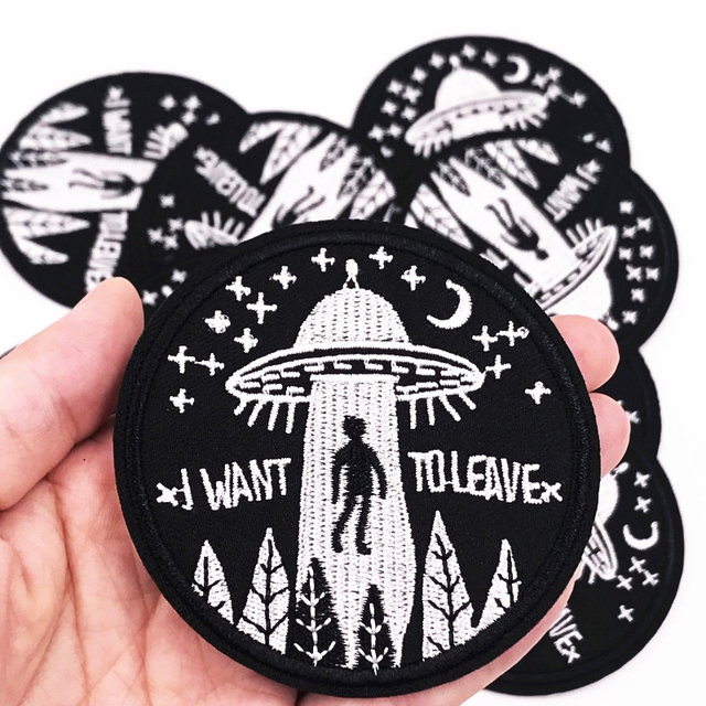 US $1.5 |1Pcs UFO Alien Embroidered Patch for Clothing Iron on Sew Applique Cute Patch Fabric Clothes Shoes Bags DIY Decoration Patches in Patches